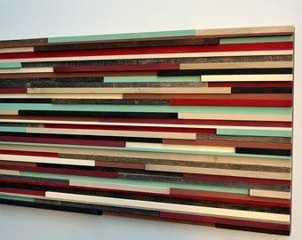 Modern Wall Art Wood Sculpture - Art on Wood - Lines -  24x48