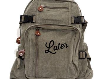 Backpack, Later, Canvas Backpack, Hipster Backpack, Laptop Bag, Boys Backpack, College Backpack, Travel Rucksack, Back to School
