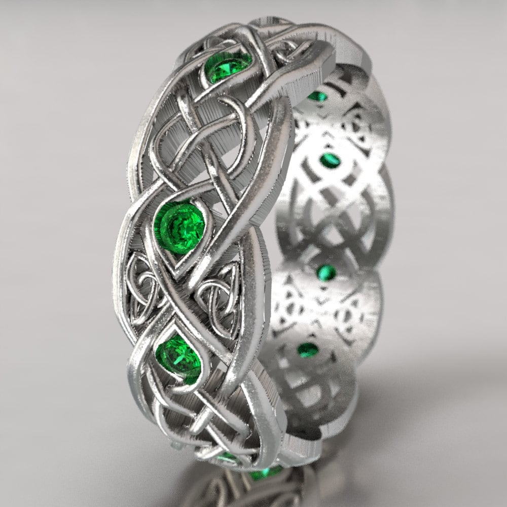 Infinity Wedding Band With Emeralds 925 Sterling Silver Celtic Ring