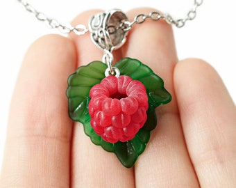 Raspberry Pendant (CHAIN Is NOT INCLUDED), Fruit Necklace Fruit jewelry Berry Pendant Food jewelry Garden jewelry Raspberry Red Necklace