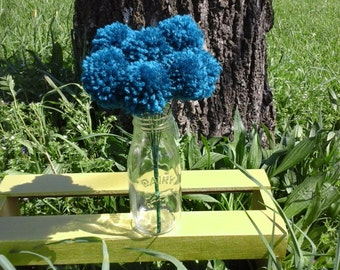 12 Teal yarn pom pom flowers. Pom pom bouquet centerpieces. Wedding/ baby shower decorations. Home decor.