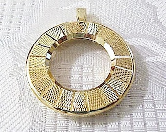 Round Etched Watch Pendant Necklace Gold Vintage Supplies Steampunk Jewelry Making Finding