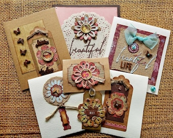 Handmade card set,Assorted greeting cards,Handmade collage cards,Blank cards,All-occasion cards,Stationery, Note cards,Greeting card set