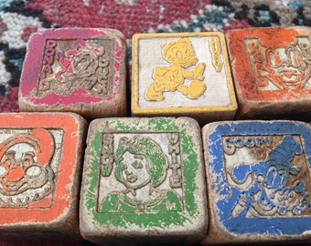 Vintage Disney Wooden Blocks- Childrens Blocks