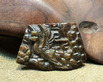 Sale #EarthDay ~ Peacock carved in Tiger Eye Trapezoid