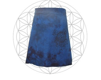 Hemp and Organic Cotton Skirt - One of a Kind  Feather Mandala Print, Ready to Ship Size Large - Organic Cotton and Hemp - Handmade and Dyed