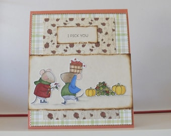 Harvest card - Thanksgiving card - Blank double greeting card - Hand colored - Main card color is ochre