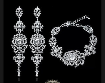 Bridal earrings, Bridal bracelet, Bridal jewelry set, Wedding jewelry set, zircon crystal earrings, Prom earrings,Vintage inspired earrings