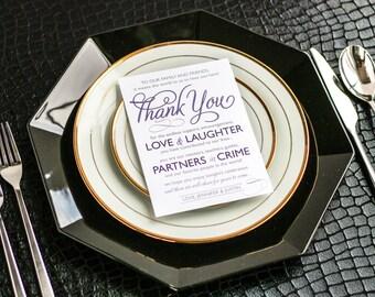 "Reception Thank You Card, Modern Wedding Invitations, Purple and Grey - ""Modern Swirl and Flourish"" Reception Thank You Sign 5x7 - DEPOSIT"