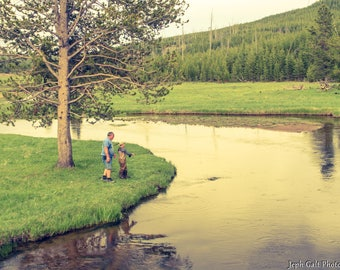 Man and Boy Fishing