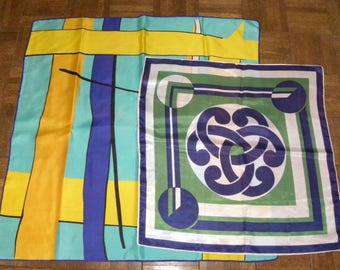 "Lot 2 1970s 70s Scarves  BOLD Scarf / 1 Large 30"" x 30""  1 Medium 22"" x 22"" / Square CHIC MOD"