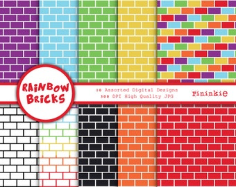 Brick Rainbow Digital Paper Pack - Brick Scrapbooking Paper, Rainbow - Digital scrapbooking - Printable Patterned Paper, Instant Download CU