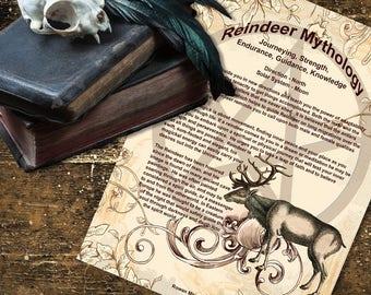 REINDEER MYTHOLOGY, Digital Download,  Book of Shadows Page, Grimoire, Scrapbook, Spells, Wiccan, Witchcraft,