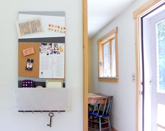 MESSAGE CENTER: Modern Organizer with Magnetic White Board, Cork Board, Storage Bin and Key Hooks for Home and Office.