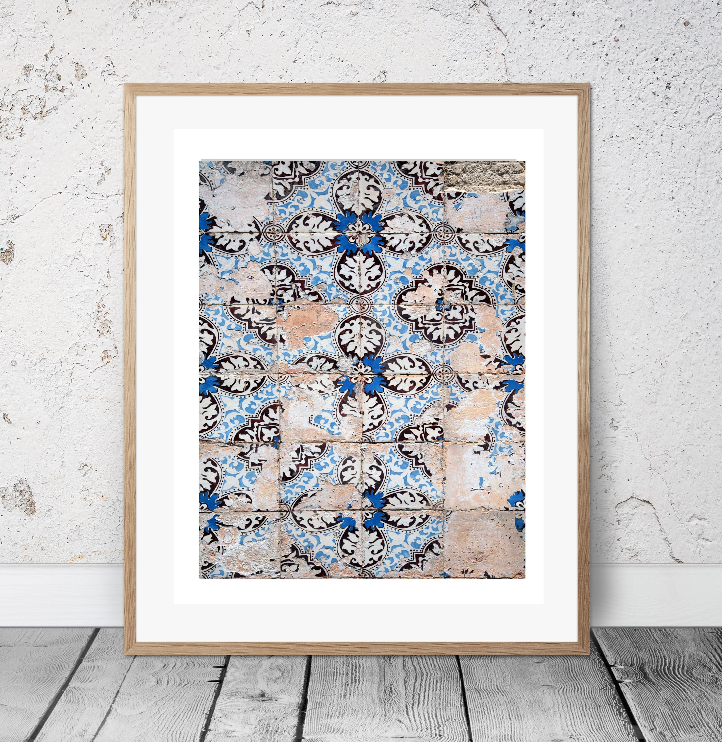 portugal tiles modern minimalist abstract photography blue white printable download hipster large poster art art print blue decor