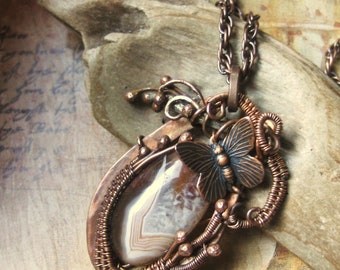 Wire Wrapped Butterfly and Stone Necklace