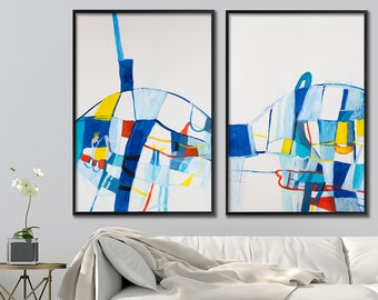 ABSTRACT PAINTING Set of two Acrylic Paintings Original Diptych Art Contemporary Art Blue and yellow Abstract Art  by Duealberi