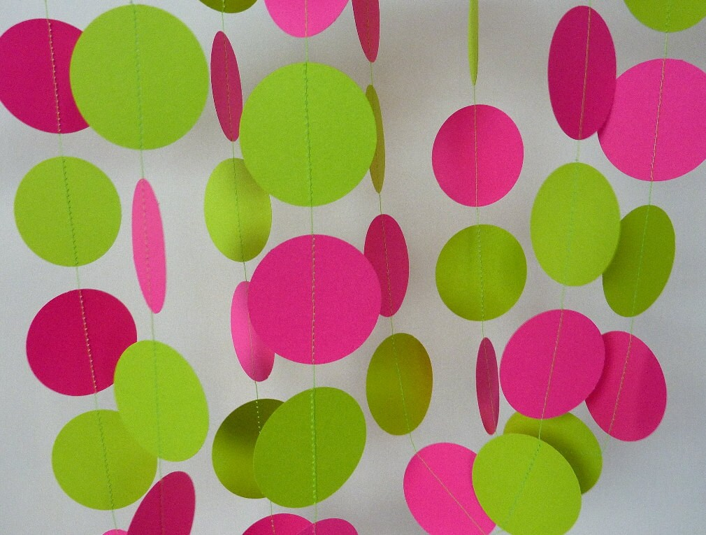 Hot Pink Chartreuse Paper Garland Pink and Green Birthday