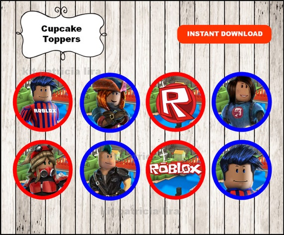 Roblox Toppers Labels Instant Download Roblox Cupcakes
