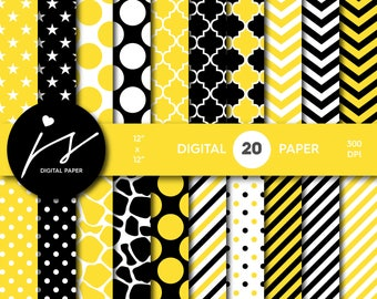 Yellow and black digital paper, Scrapbooking paper, Digital paper pack, Digital backgrounds, Printable paper, Commercial use, PA-192