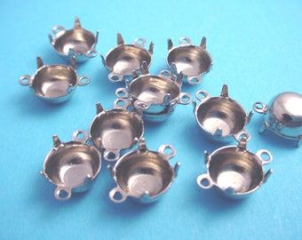 18 Silver Tone Round Prong Settings 40SS  8mm 2 Ring Connector Closed Back