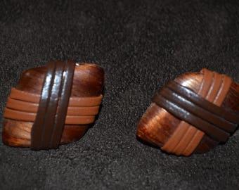 Vintage Wood Earrings Diamond Shape