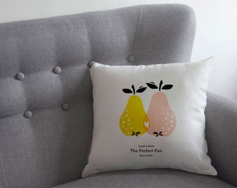Perfect Pair Cushion, Personalised Perfect Pear Cushion, Valentine's Pillow (OHSO822)