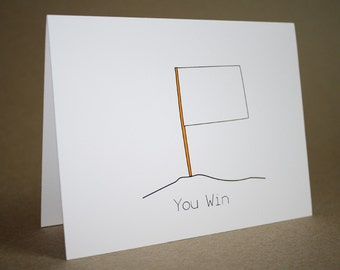 Funny I'm Sorry Card - I'm Sorry Card, white flag, I give up, you win