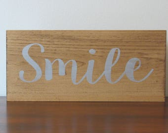 Smile sign rustic modern home décor wood sign