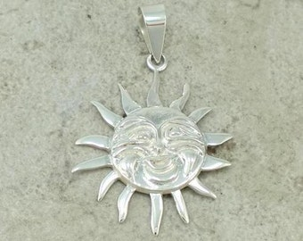 Detailed Sun Sterling Silver Pendant --Complimentary Ribbon or Cord