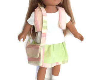 18 Inch Doll Clothes, Green and Pink Striped Skirt, T shirt, Vest, Purse, 4 Piece Ensemble