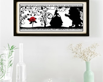 The Beauty of a Beast Signed and Framed Papercut Print • Beauty and the Beast • Fairytale Wall Art • Paper Cut Quote • Fairy Tale Gift