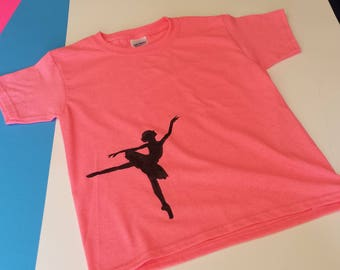 Dance Girl - Black Silhouette Ballerina - Heavy Cotton Gildan T-Shirt - Youth's Pink Tee - Fun Based Child's Shirt - Small Beans Wear
