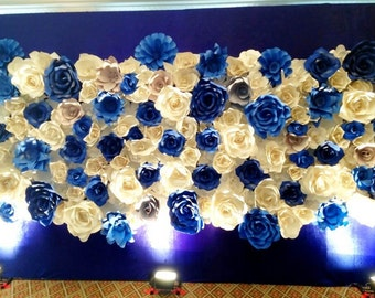 Sale&Discount Blue paper flowers backdrop