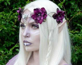 Purple elven flower crown