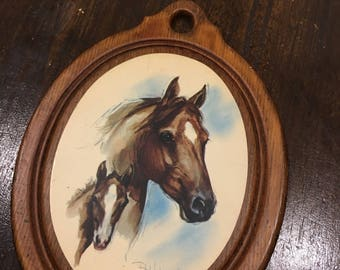 Horse and colt thin wood plaque 6 1/2 inches