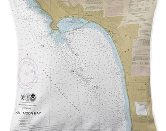 CA: Half Moon Bay, CA Nautical Chart Pillow, Nautical Pillow, Map Pillow, Coastal Pillow