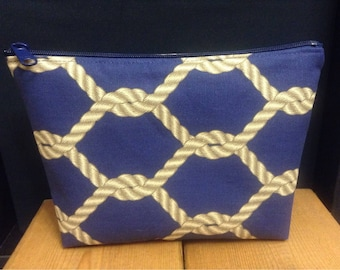 Navy Knots Zipper Pouch ~ Tie the Knot Wedding Pouch ~ Cosmetics Bag ~ Stand Up Pouch ~ Essentials/Accessories Pouch