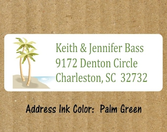 Tropical Address Labels, 90 Labels, Personalized Return Address Labels, Beach Tropical Labels, Beach Return Address Labels, Palm Tree