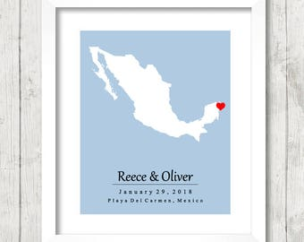 8x10 Mexico Love Map - Playa del Carmen, Riviera Maya - Mexican Wedding - Destination Wedding - Beach -Paper Anniversary - Mexican Honeymoon