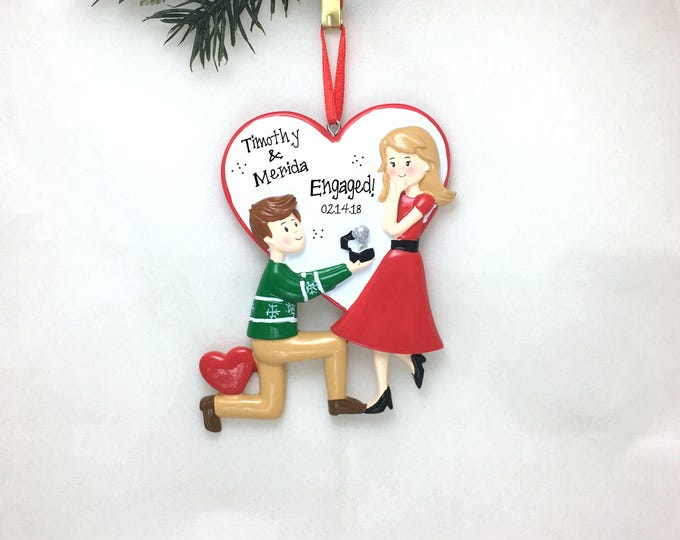 Featured listing image: Engagement Personalized Christmas Ornament / Proposal Ornament / Engaged Couple / Our First Christmas / Valentine