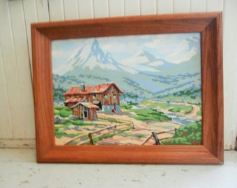 1950-60's, Paint By Number, Mountain Landscape, Framed Painting