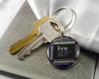 Circuit Board Keychain Purple, Wearable Technology, Computer Chip Keychain, Geeky Gift, Technology Gift, Software Engineer, Graduation Gift