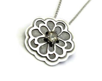 Silver Flower Necklace - Peony Pendant - Citrine Necklace Sterling Silver - November Birthstone Necklace - Pendant for Her - Floral Pendant