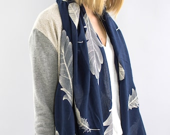 Personalised Embroidered feather print scarf