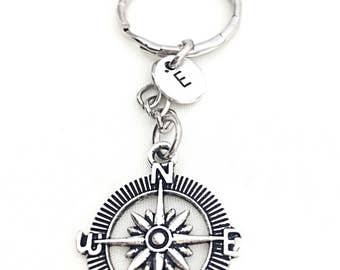 Compass Keychain, Nautical Keychain Gift, Custom Compass Keychain, Nautical Jewelry, Distance Moving, Gift For Friend,N S E W,  Custom Gift