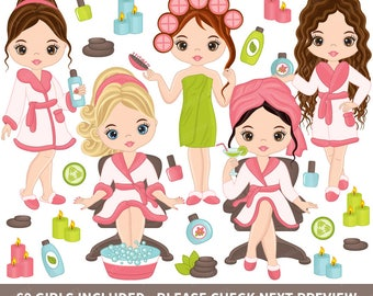 60 Spa Girls Clipart - Vector Spa Girl, Spa Party Clipart, Spa Clipart, Makeup Clipart, Manicure Clipart, Beauty Clipart, Spa Girl Clip Art