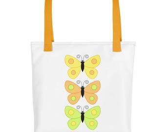 Butterfly Tote Bag, Three Butterflies Tote Bag, Reusable Shopping Bag, Cloth Shopping Bag, Fun Tote Bag