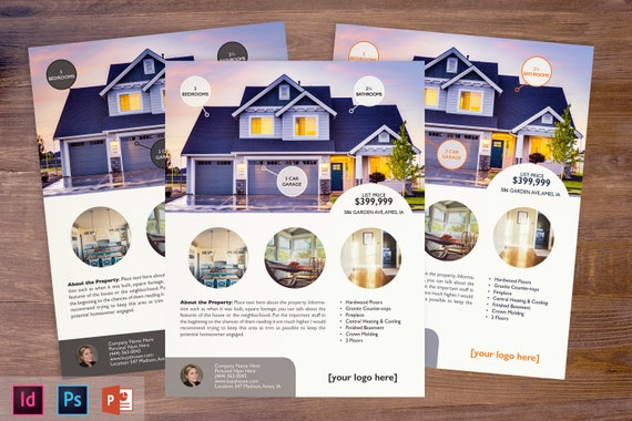Real Estate Flyer Template Powerpoint Photoshop Indesign