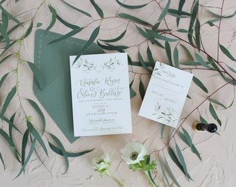 Greenery Wedding Invitation Set . Elegant Greenery Wedding Invitation . Botanical Garden Wedding Invite